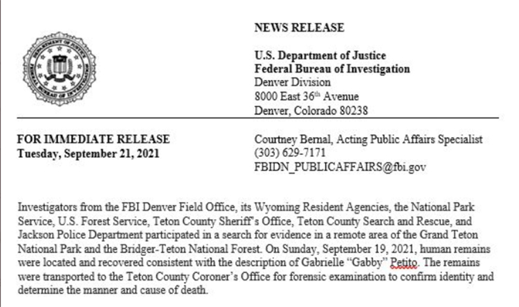 FBI Announces Gabby Petito's Manner of Death is 'Homicide'